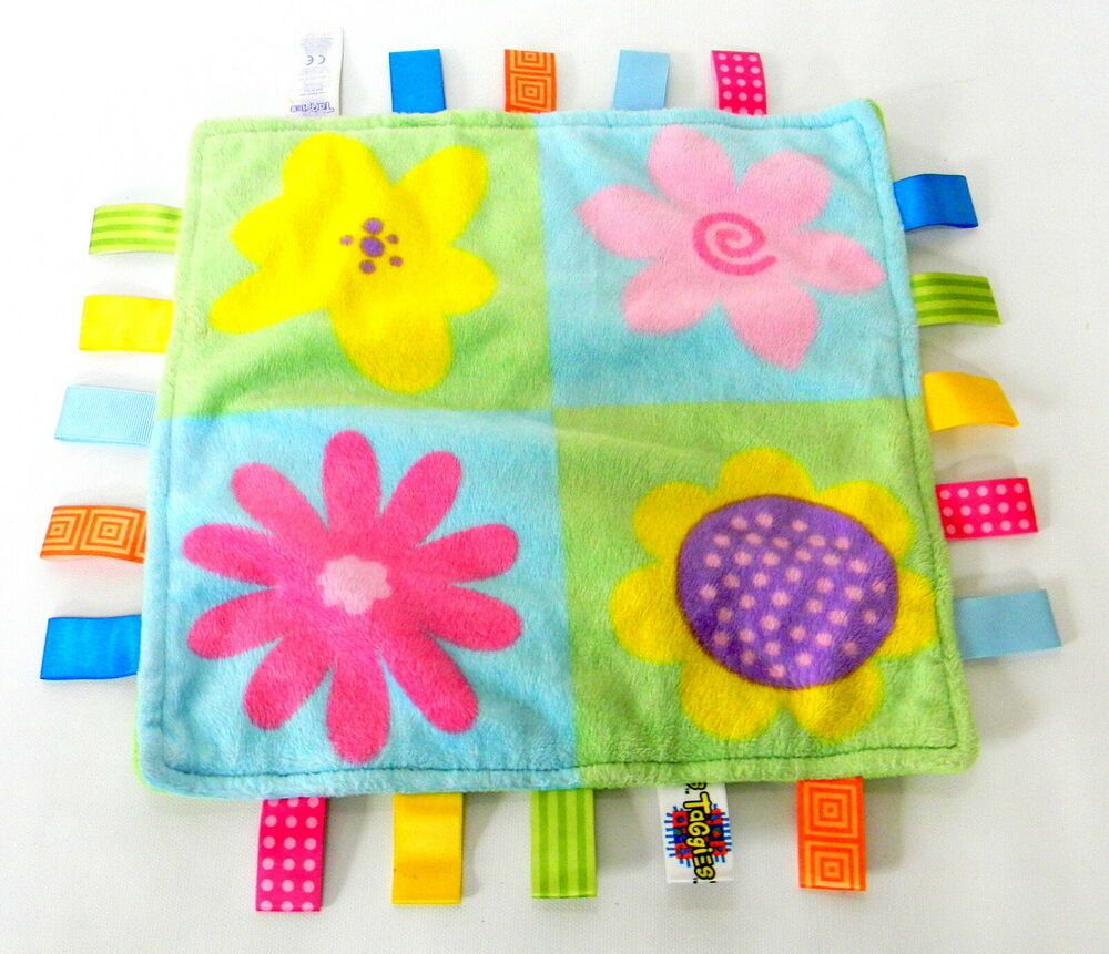 Taggies Patch Flowers Multi Colored Plush Security Blanket Lovey #Taggies #securityblankets