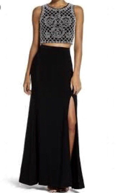 6506a589541de XSCAPE  238 Womens Black Beaded Slitted 2 Piece Dress Sz 0  fashion   clothing  shoes  accessories  womensclothing  dresses (ebay link)
