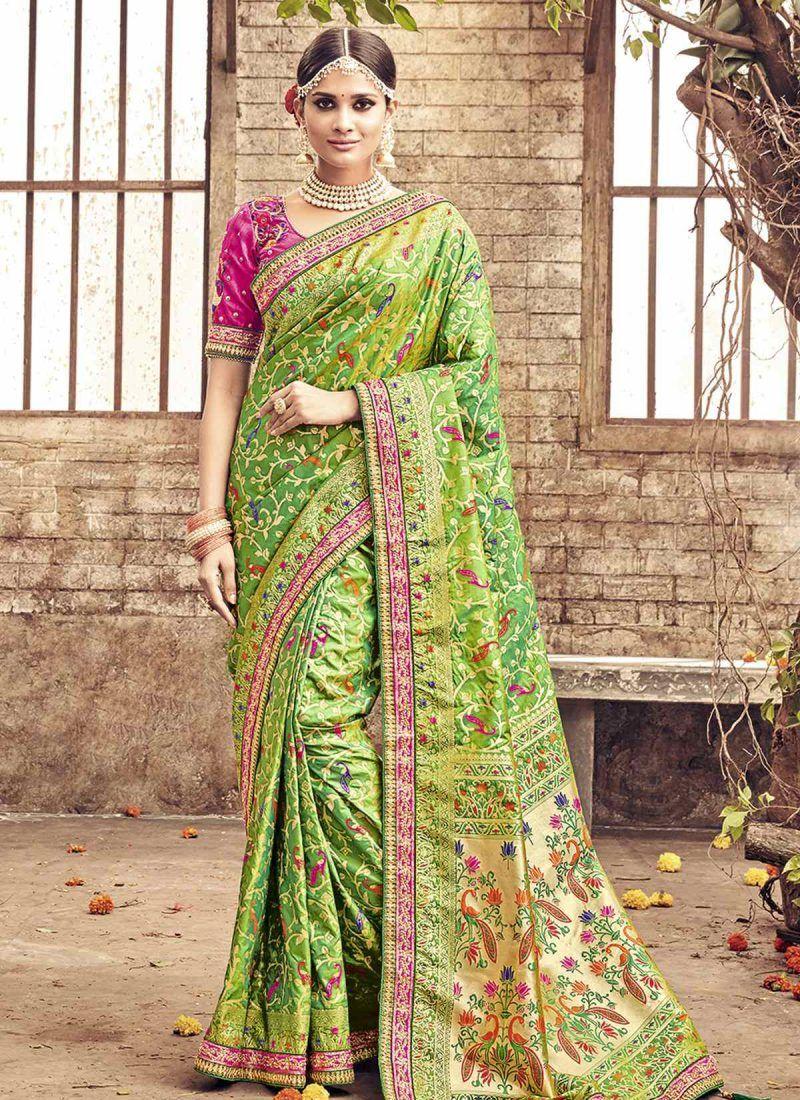 11b687986a Heavy Designer Banarasi Silk Green Colored Saree   Silk Sarees ...