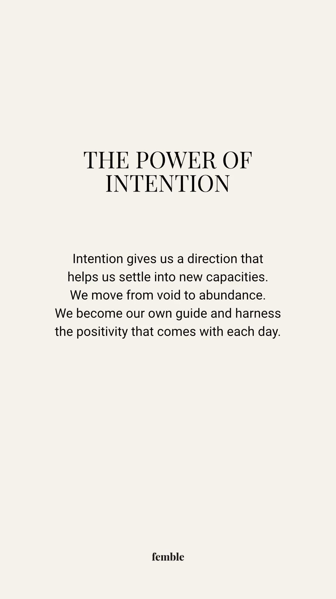 Give yourself power by setting an intention
