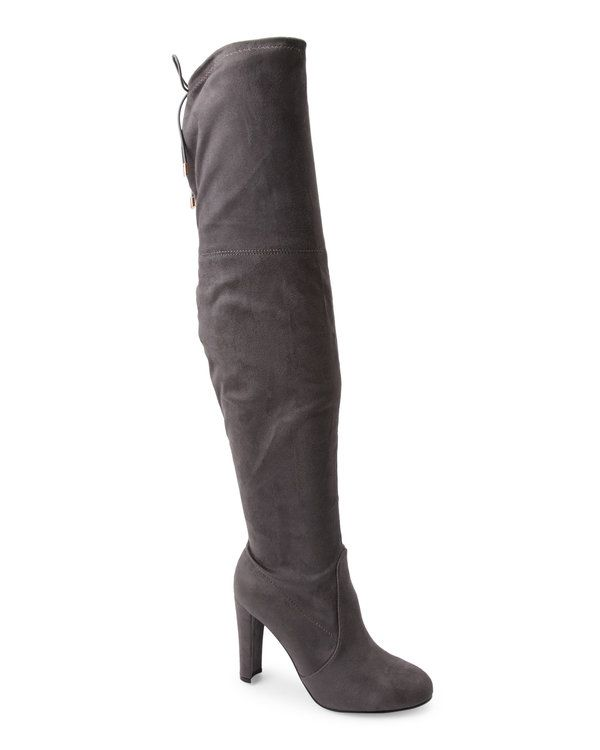 Grey Daisy Over The Knee Boots