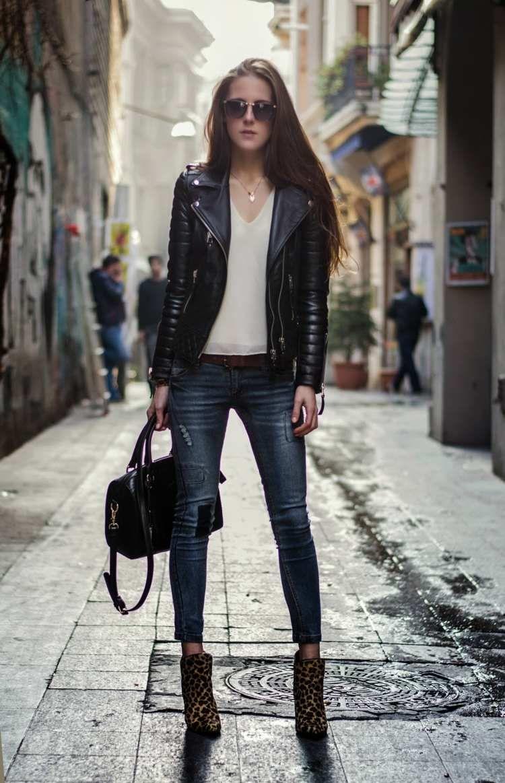 Veste en cuir femme idées cool de tenues automne look hair