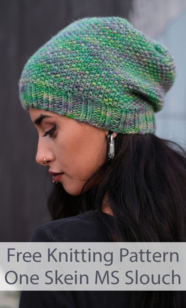 Free Knitting Pattern for 1 Skein MS Slouch Hat - Slouchy beanie knit in a 2 row moss/seed stitch with a twisted rib brim. Uses 1 skein, 175yd/160m/100g, of Aran weight yarn. 4 sizes: 17in, 19in, 21in, 23in, 43.24cm, 48.25cm, 53.25cm, 58.5cm. Designed by Woolly Wormhead.