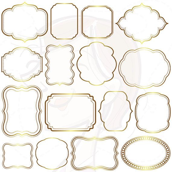 Digital Frames GOLD Borders Wedding Clipart Frame Labels Tag Clip ...