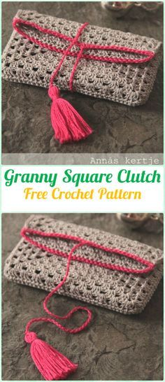 Crochet Granny Square Clutch Free Pattern Crochet Clutch Bag