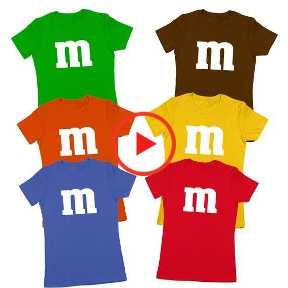 M & Candy Costume Set Funny Humor Halloween Group Women's tee top cute T-Shirt DT0206