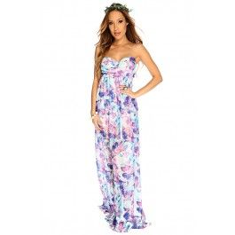Purple Floral Strapless Sexy Maxi Dress