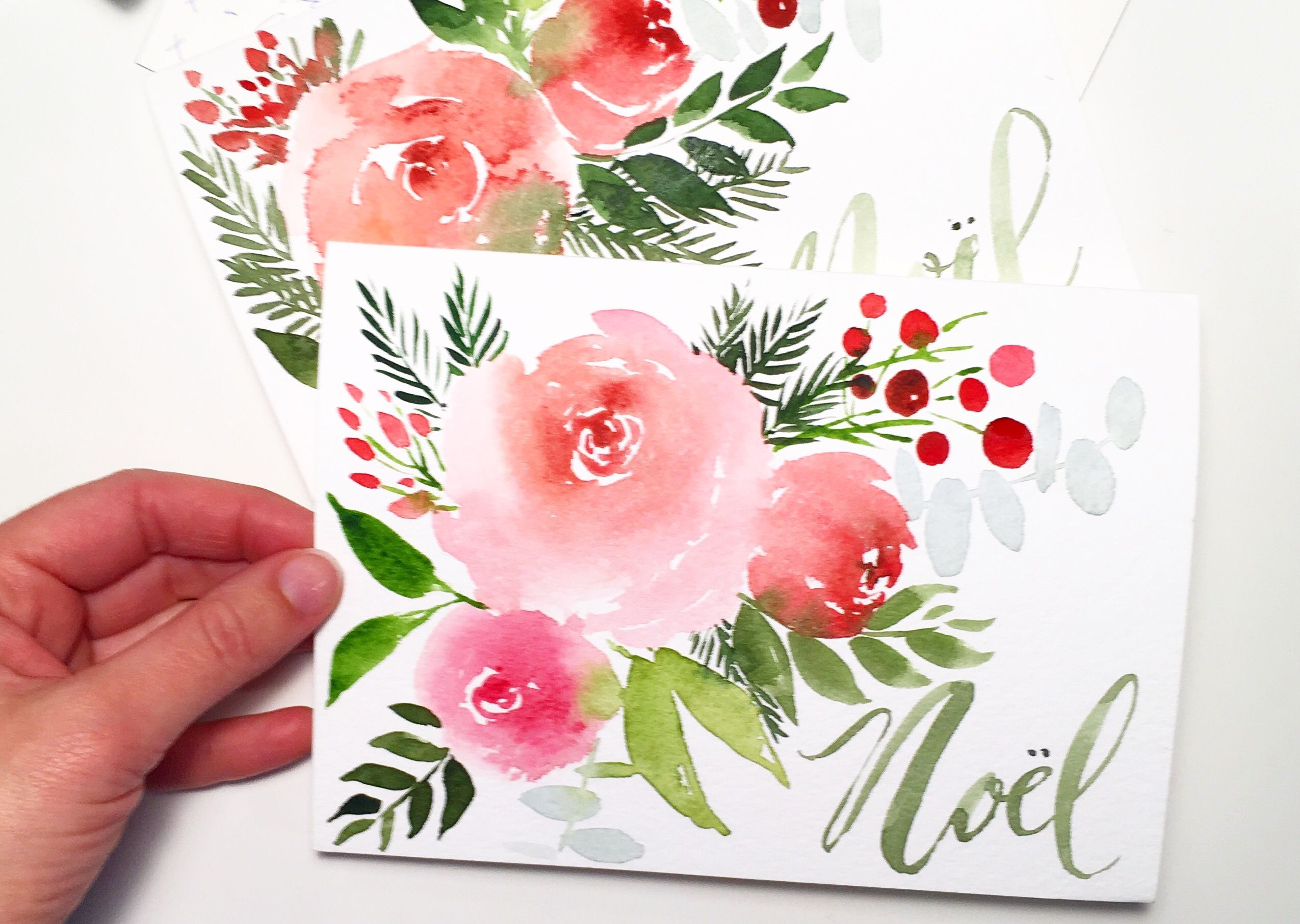 Hand Painted Watercolour Christmas Cards Happy Holidays Caverly