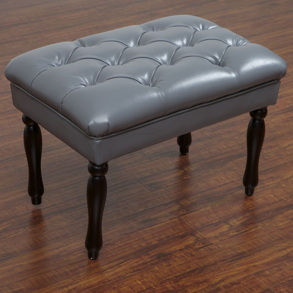 Liza Tufted Grey Leather Bench Overstock Com Home