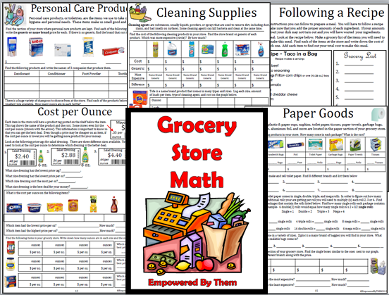 Grocery Store Math - 16 unique lessons (canned goods, baking ...