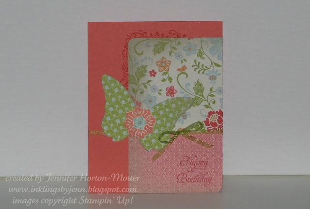I made this card this morning to play in the CCMC186 blog challenge. LOVE these colors together! :}