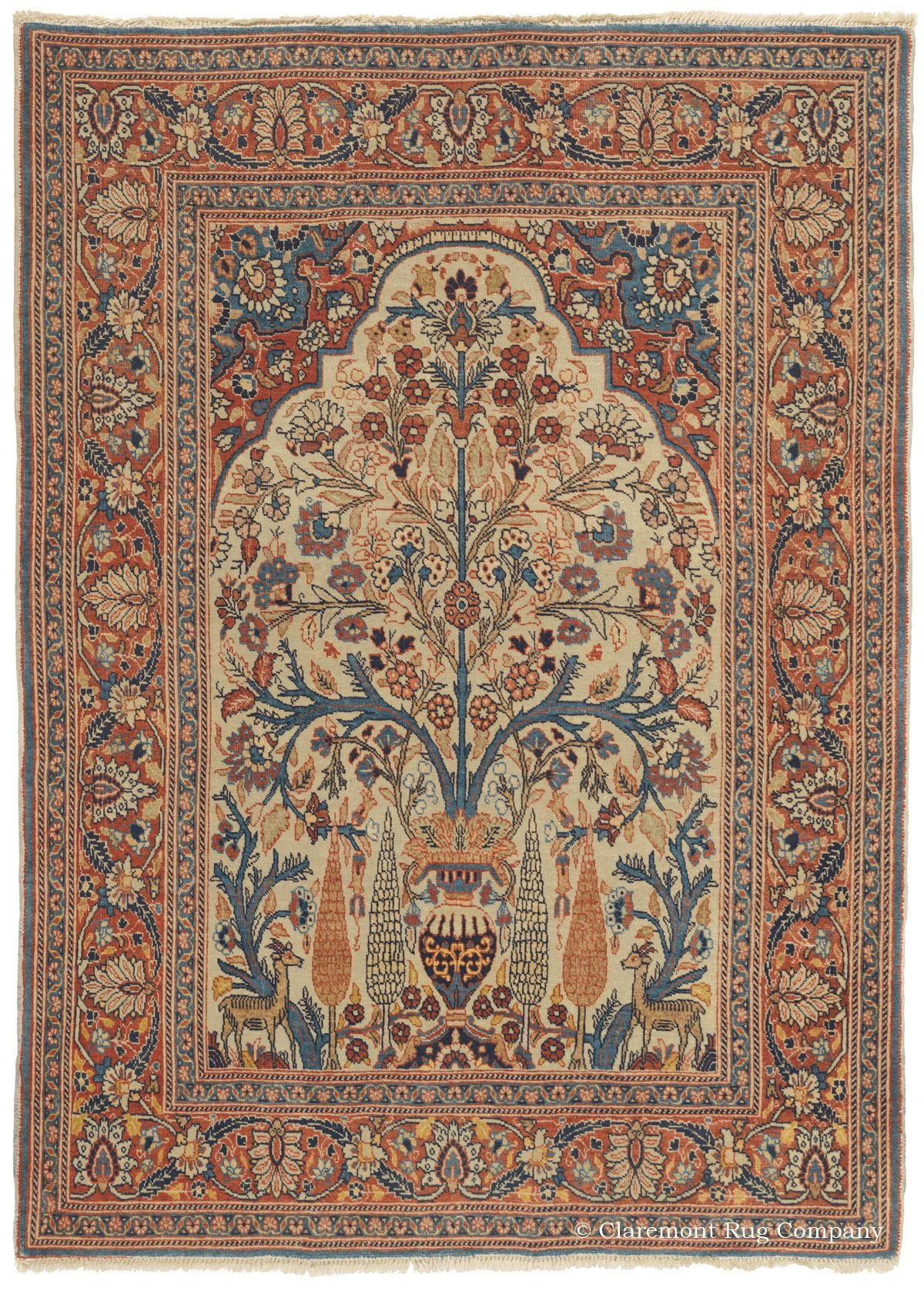 Tabriz Tree Of Life Antique Persian Rug Circa 1900 Elegant Animal Forms Are Sheltered Beneath The Effusive Blossom Laden Boughs In This Exquisite 19th