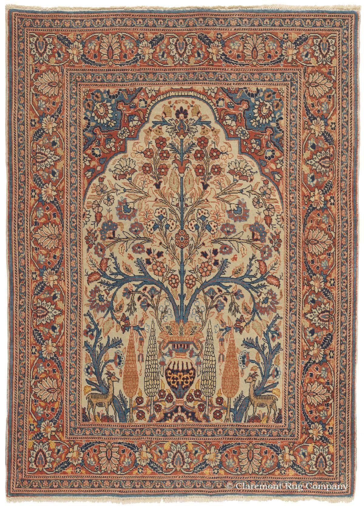 Tabriz Tree Of Life Antique Persian Rug Circa 1900