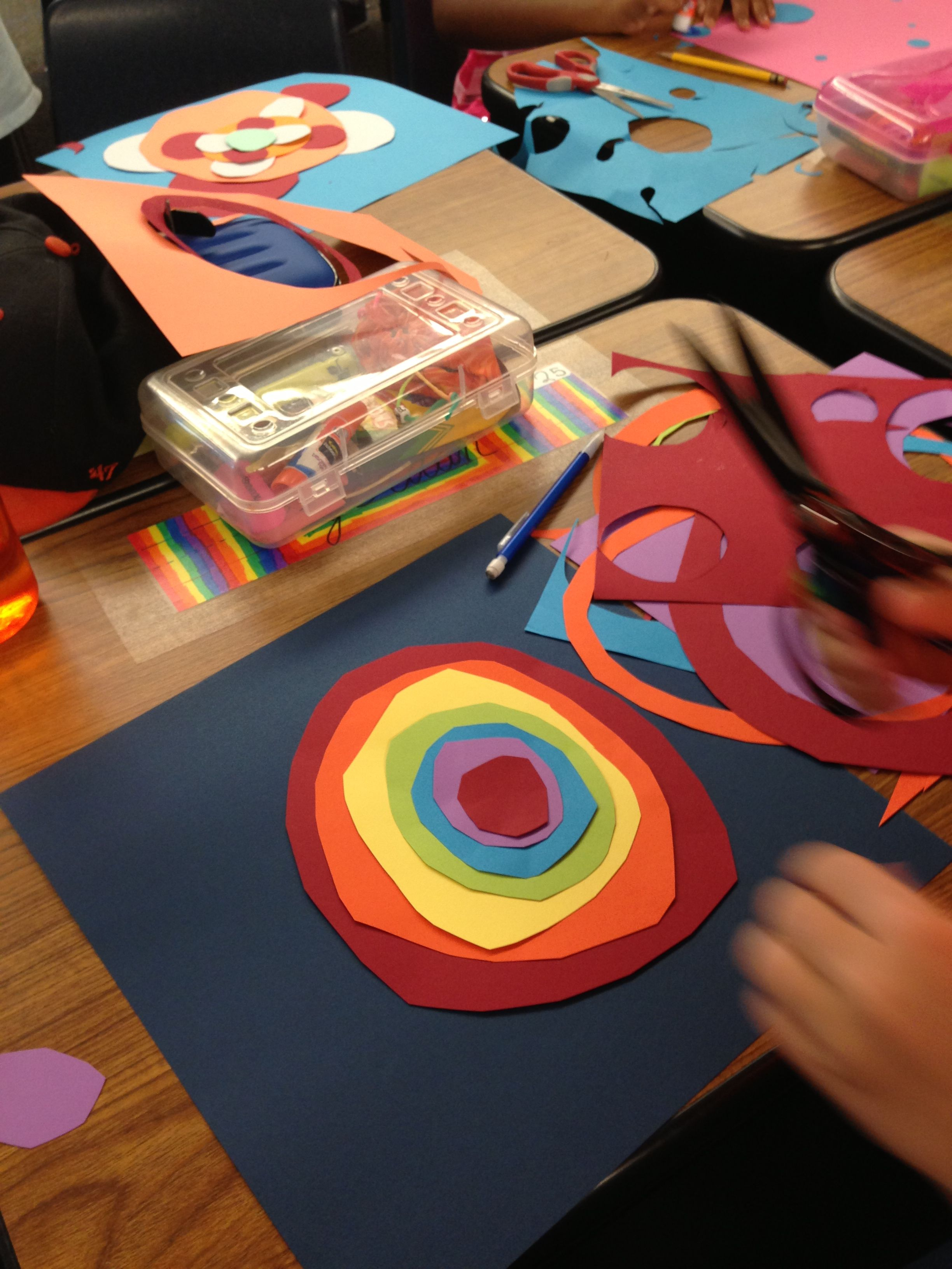 Celebrating International Dot Day with my elementary combo class (4th/5th grade).  Using hand cut colored paper circles.