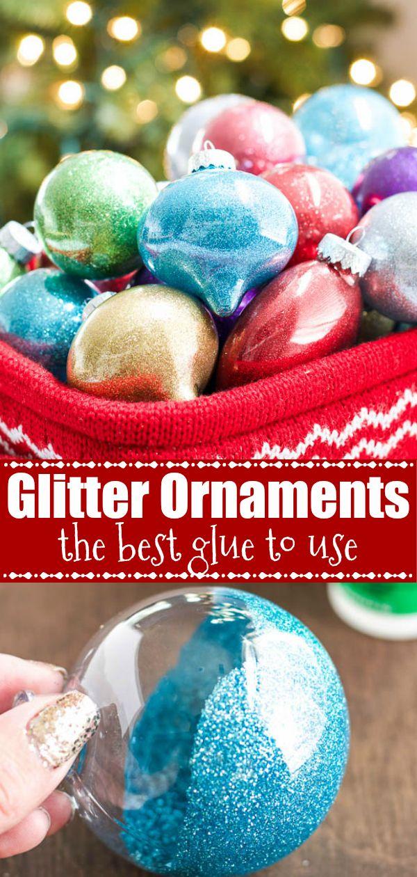 DIY Glitter Ornaments {best glue to use} Glitter
