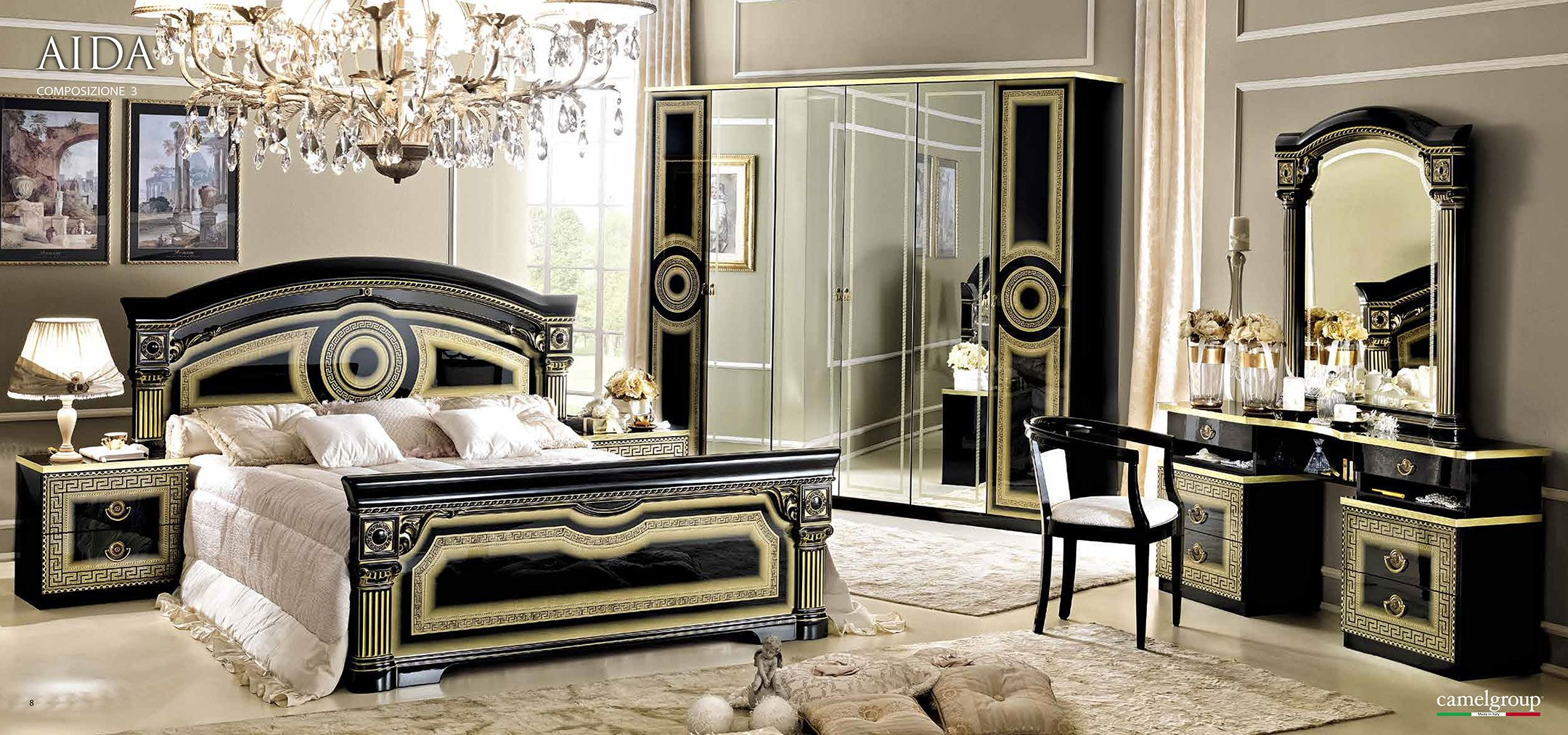 The gold and silver gold leaf bedroom furniture top and best italian