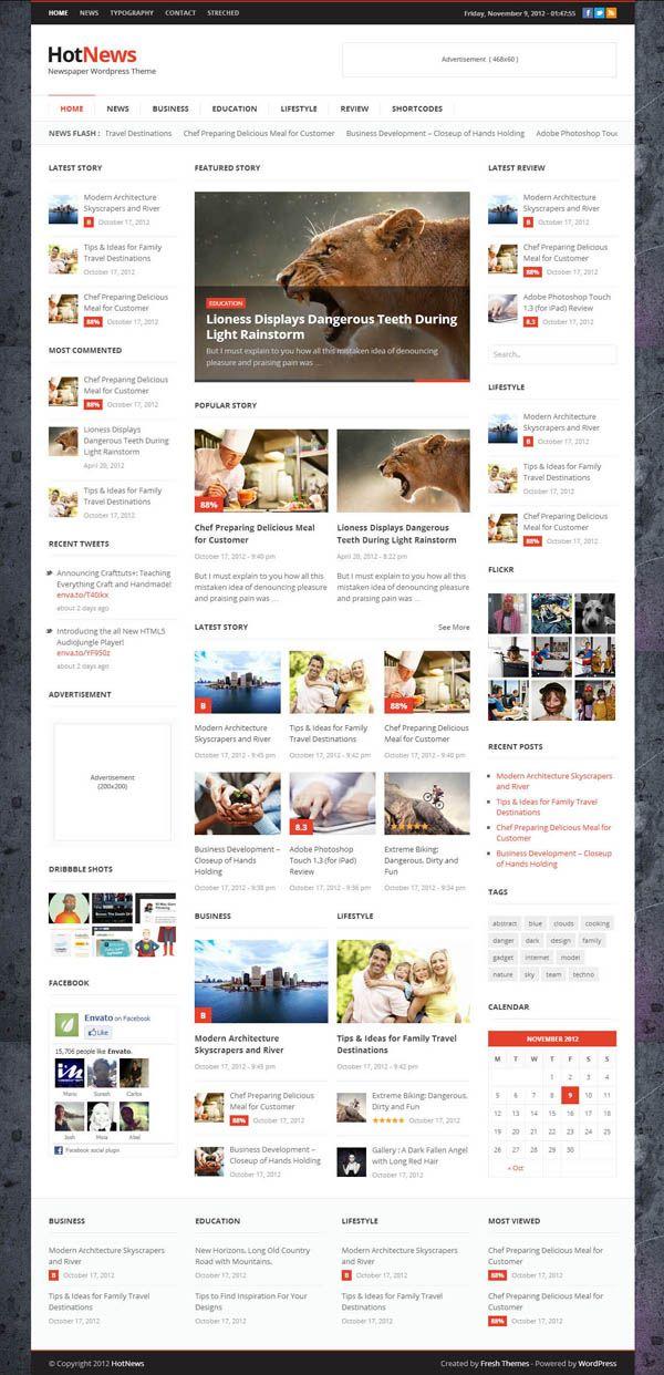 Top Premium News and Magazine Responsive WordPress Themes | news ...