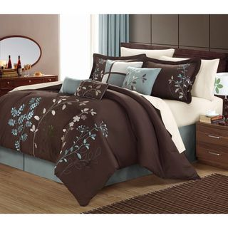 Bliss garden 8 piece chocolate brown for Blue and brown bedroom