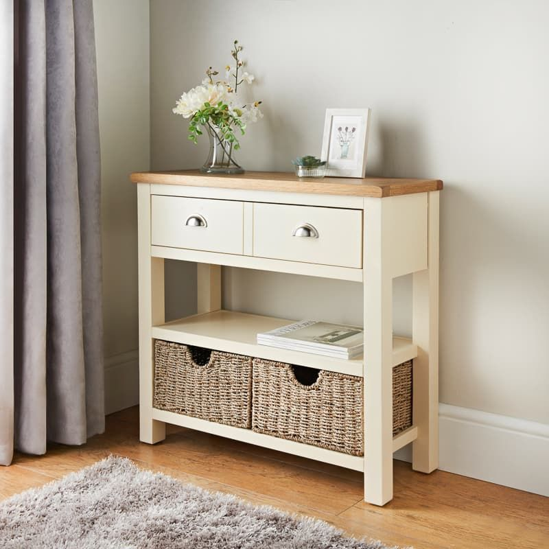 Newsham Oak Console Table With Storage, Oak Console Table With Storage Baskets