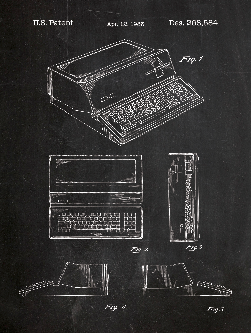Apple iii patent print on chalkboard background art tech and apple 1983 computer patent poster screen print decoration technical invention design blueprint schematic retro educational screenprint malvernweather Images