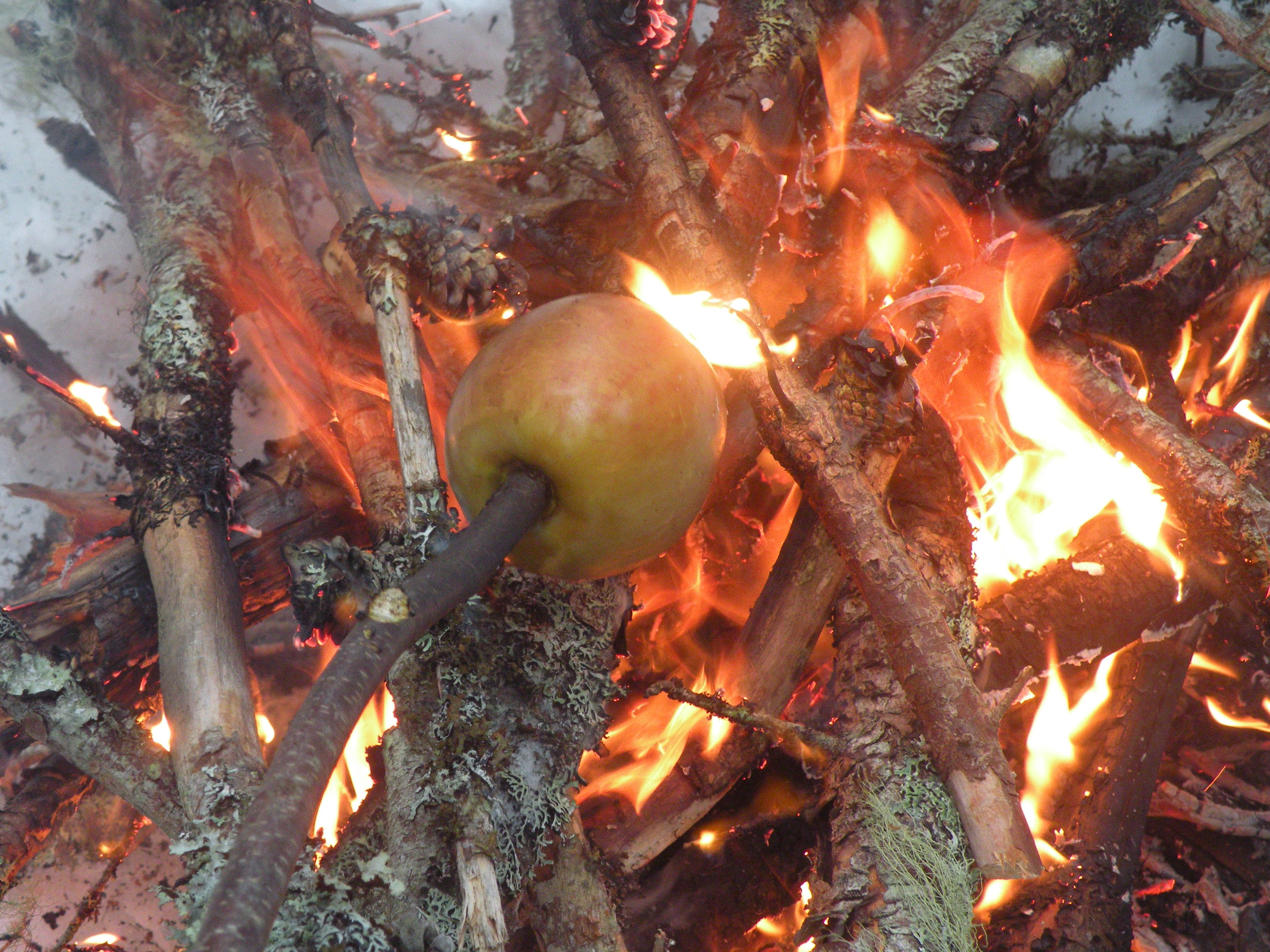 Try roasting an apple over your next campfire. Some cook better than others and some give that fresh baked apple pie smell...yum ! Richibucto-Village, New Brunswick, Canada.