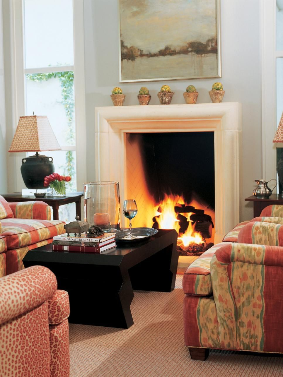 Tall Stone Fireplace in Traditional Living Room   Casual ... on Fireplace Casual Living id=54099