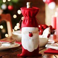 1 PCs de natal papai noel tampa de garrafa de vinho de mesa de jantar decoração de natal em casa decorações do partido saia(China (Mainland))
