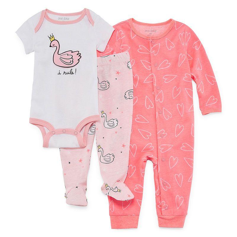 79f4eb7b Okie Dokie Swan 3-pc. Layette Set-Baby Girls NB-9M | Products | 13 ...