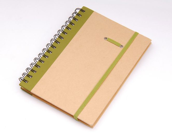 Notebook made of recycled craft paper material with wire-o