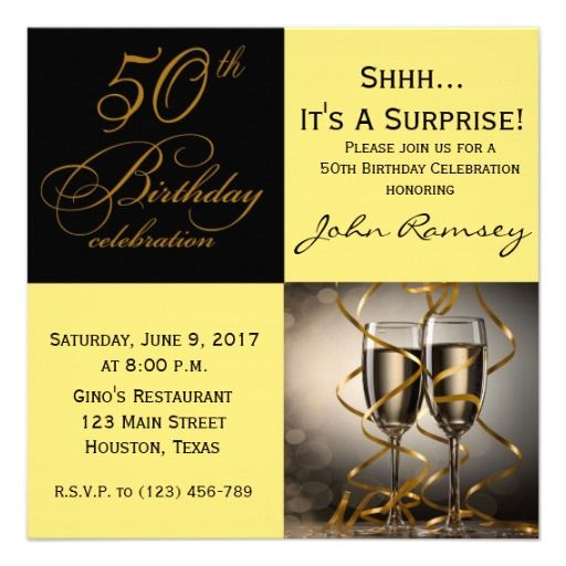 Surprise 50th Birthday Party Invitations Mzee Pinterest