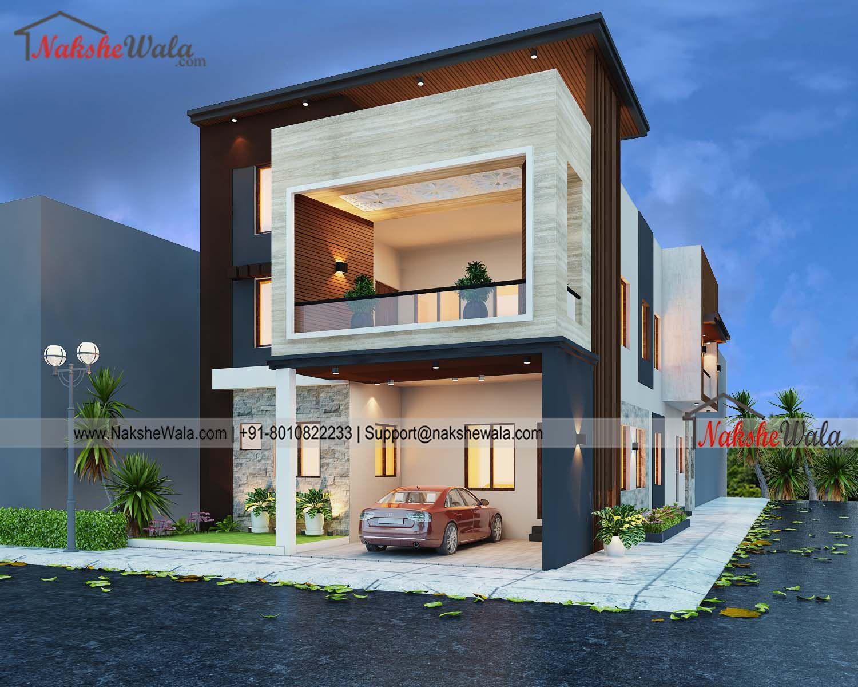 50x40sqft Double Storey House Modern Front Elevation Design