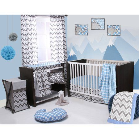 Bacati - Ikat Zebra/Dots/Damask 4-Piece Crib Bedding Set with 2 Muslin Swadling Blankets, Blue/Grey, Gray