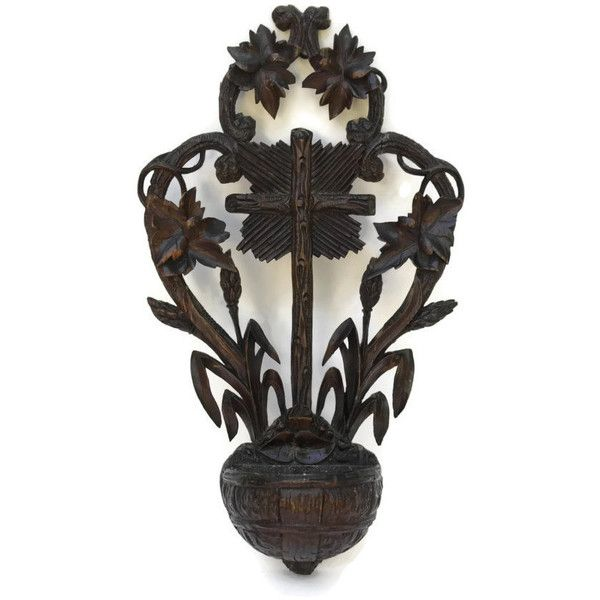 Antique Black Forest Holy Water Font Hand Carved Wooden Wall Hanging Liked On Polyvore Featuring Home Home Decor Halloween Forest Home Decor