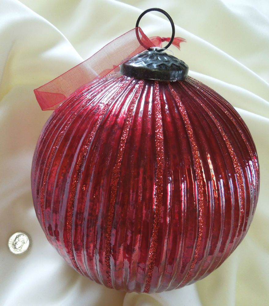"VINTAGE KUGEL STYLE~RED MERCURY GLASS~12"" DIAMETER~DESIGNER HOLIDAY ORNAMENT~NWT"
