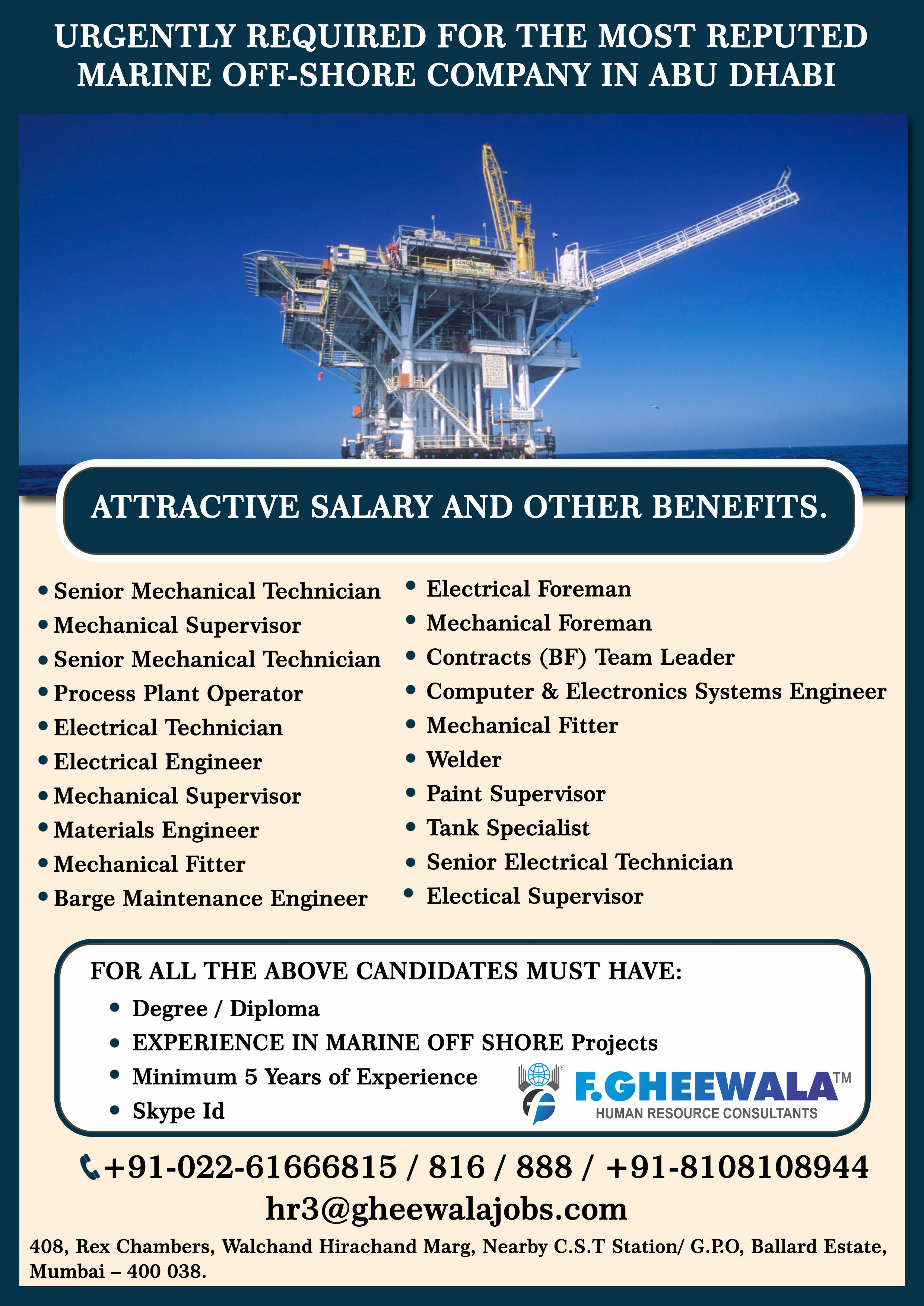 Urgent Requirements for the Most Reputed Marine Offshore