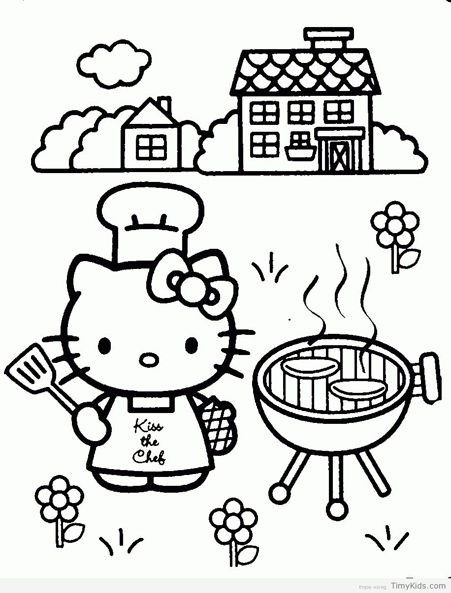 Hello Kitty Cooking Coloring Pages Hello Kitty Coloring Hello