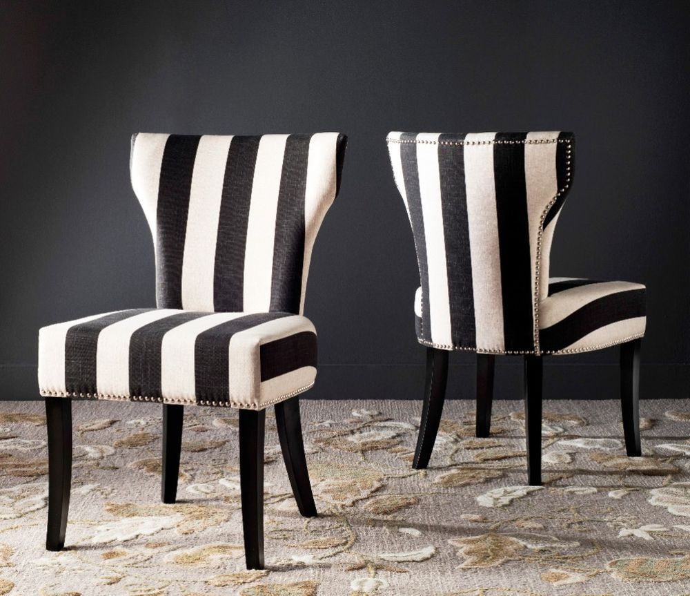 Set Of 2 Solid Back Matty Black White Striped Accent Dining Chairs