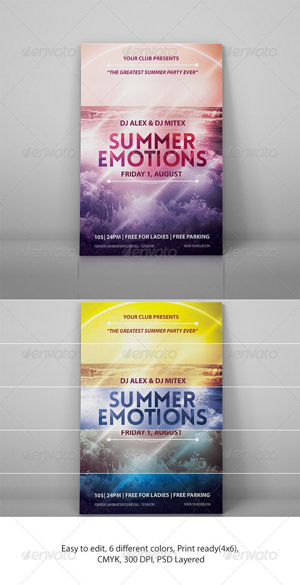Summer Emotions Party Flyer | Party flyer, Flyer printing and ...
