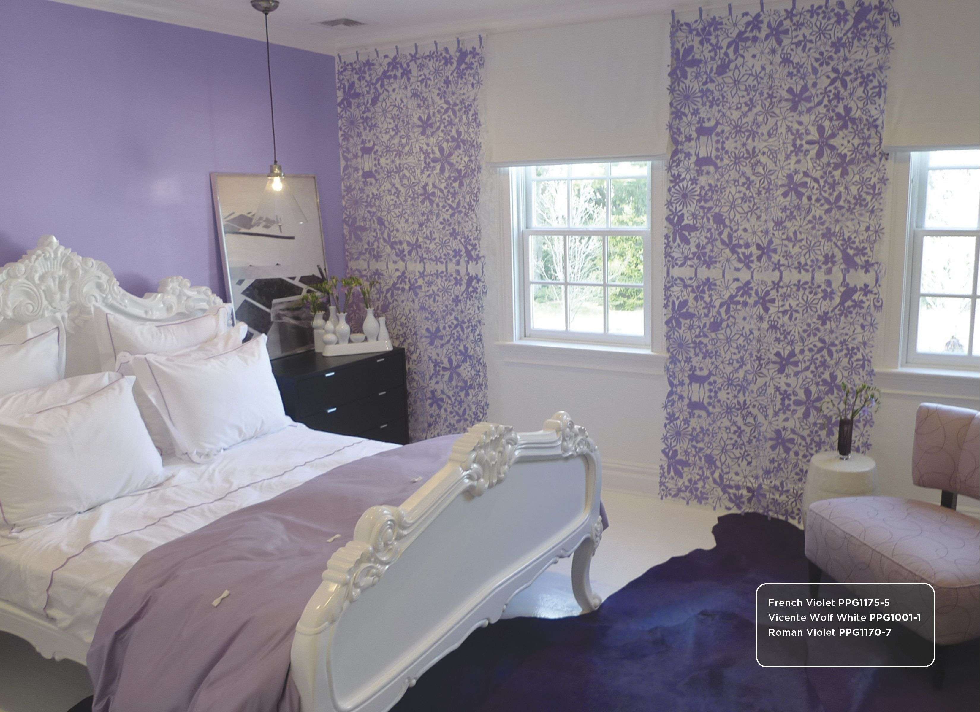 Paint colors for bedrooms purple - Purple Wall Color Inspiration Includes Roman Violet Ppg1170 7 And French Violet Ppg1175