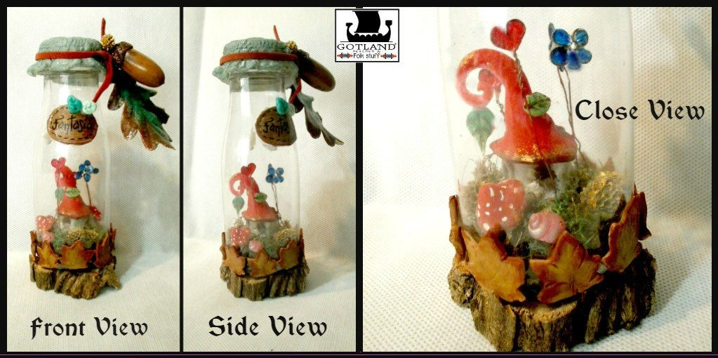 """ Fantasia"" A tiny magical fairy cottage in a bottle. Cute and delicate details…"