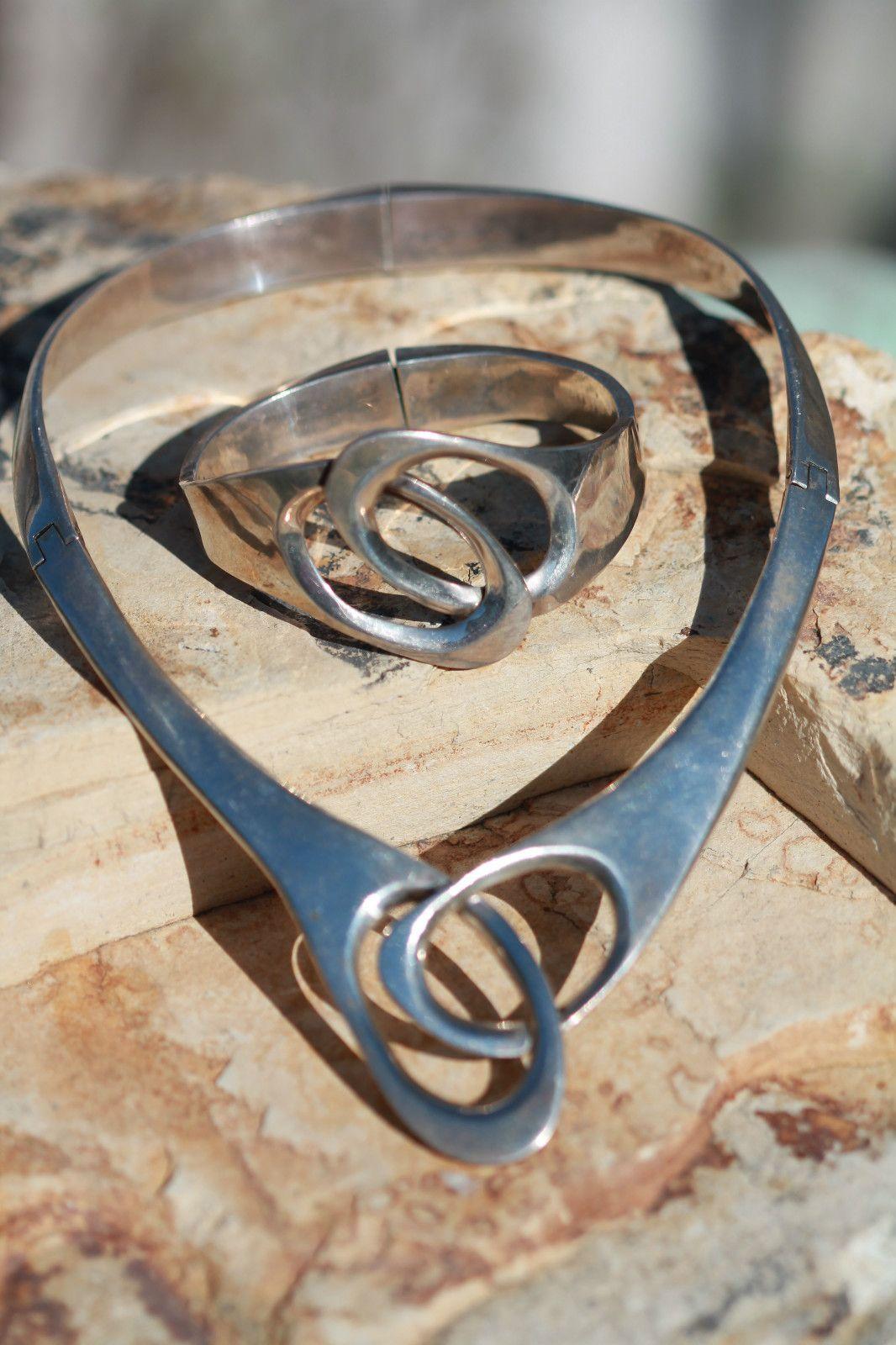 Vintage Heavy Mexican Taxco Sterling Silver Modernist Collar Necklace Bracelet | eBay