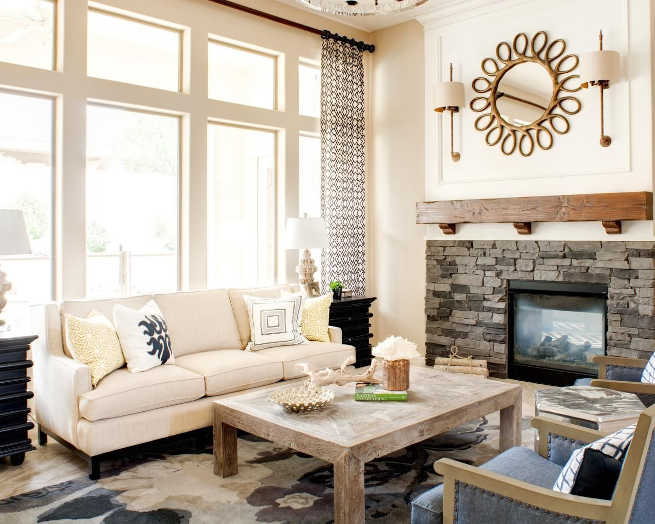 Gray and White Transitional Rustic Living Room With Fireplace ...