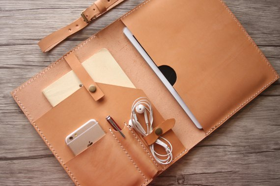 A4 Leather Portfolio, Personalized Padfolio for Women, Mens Leather Planner, Travel Bag Gifts, Document Holder Organizer, Legal Pad Folder