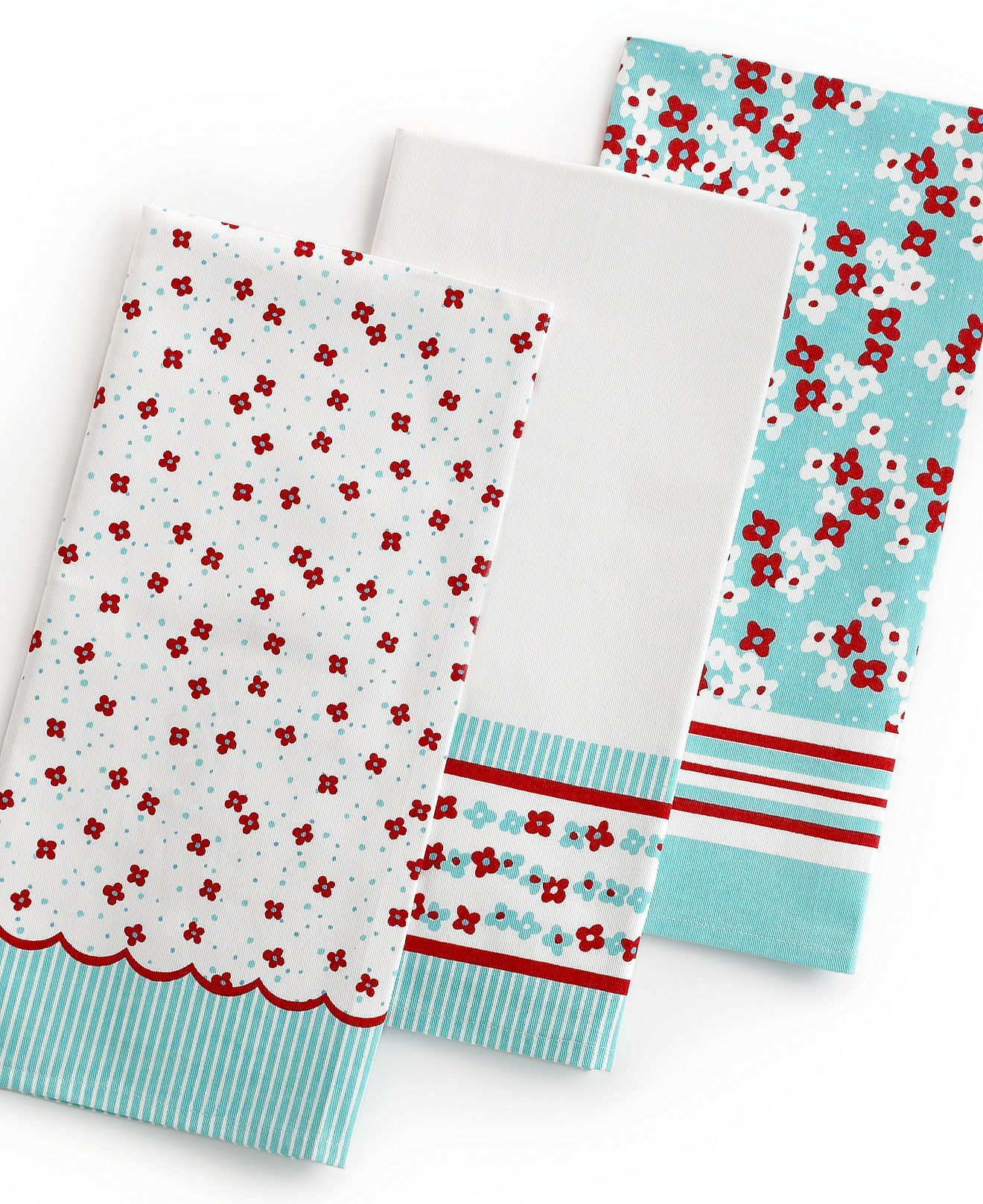 martha stewart collection kitchen towels set of 3 scalloped print