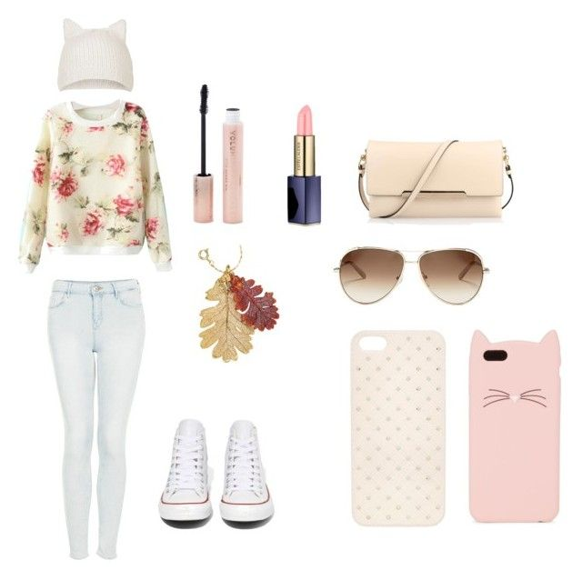 """""""Going To Town"""" by kandilover2003 ❤ liked on Polyvore featuring Topshop, Converse, Christian Louboutin, Estée Lauder, Forever 21, Chloé and Kate Spade"""