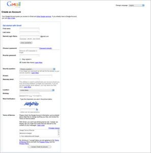 unable to Create Gmail account? want to signup i