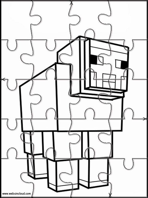 minecraft 17 puzzels afdrukken te trimmen voor kinderen in