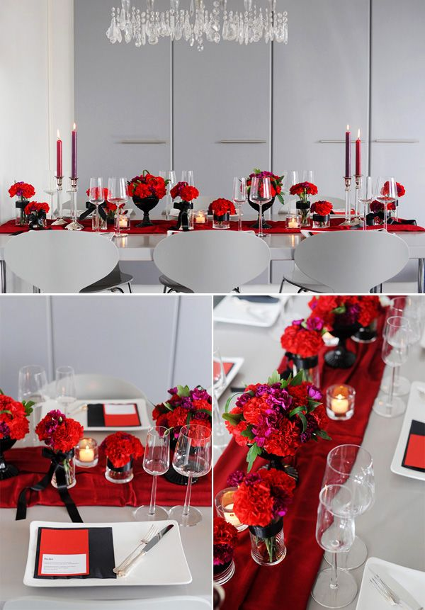 Modern Red Black Tablescape Red Black Modern And Wedding
