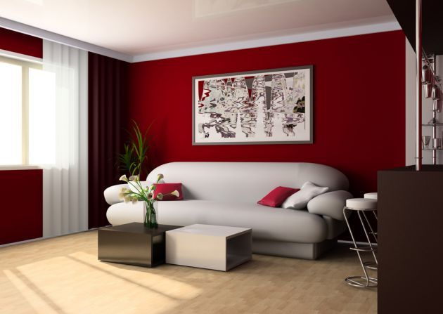 Consejos para la decoraci n de interiores en rojo ideas for Decoracion en pared para salas