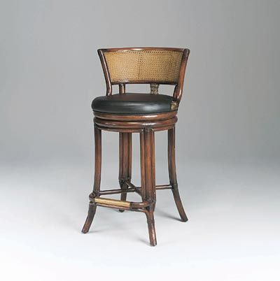 Dark Patina Rattan and Cane Barstool, Black Leather Upholstery ...